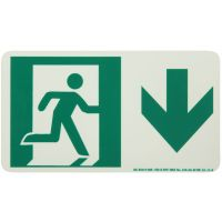 Running Man Right Down Arrow Rigid Egress Sign