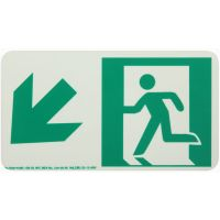 Running Man Left,Down Left Arrow Rigid Egress Sign