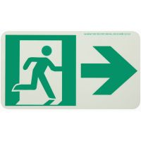 Running Man Right,W/ Right Arrow Rigid Egress Sign