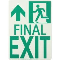 "Running Man Left ""FINAL EXIT"" Forward Arrow Rigid Egress Sign"