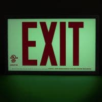 Glo Brite® UL 924 listed, screen printed/reflective tape Exit sign, 50 Ft viewing distance, P50