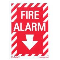 "Glo Brite® ""Fire Alarm"" sign, 5""x 7"" Photoluminescent letters on red (FS-7520-F-207)"