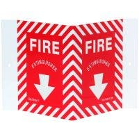 "Glo Brite® ""FIRE EXTINGUISHER"" rigid V sign, 5.75""x 8.75"" Photoluminescent letters on red (FS-7520-R-209)"
