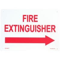 "Glo Brite® ""Fire Extinguisher"" w/right arrow sign, 14""x 10"" Photoluminescent letters on red (FS-7520-R-210)"