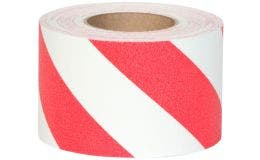 "Safety Track® Heavy Duty Grade Red/White Striped Anti-Slip Grit 4"" x 60' Roll 3/cs"