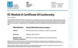 Certificate of Conformity EC (Module D) by Lloyds Register