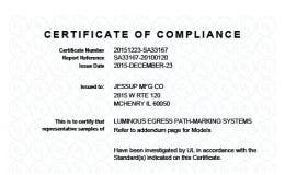 UL 1994 Certificate of Compliance for luminous egress path marking systems