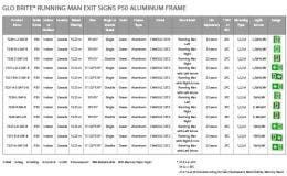 Jessup® Glo Brite® Running Man Aluminum Frame Selection Chart