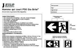 Jessup® Glo Brite® P50 Running Man signs spec sheet in French