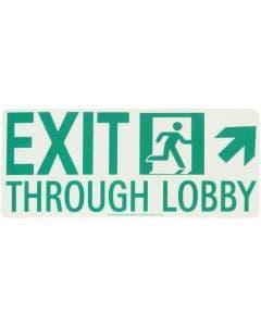 """Running Man Right """"EXIT THROUGH LOBBY"""" Up Right Arrow Rigid Egress Sign"""