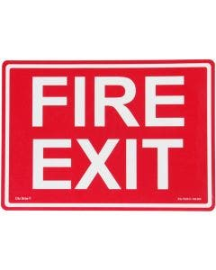 "Glo Brite® ""FIRE EXIT"" sign, 14""x10"" Photoluminescent letters on red (EG-7520-F-104-RN)"