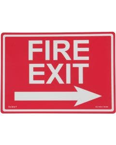 """Glo Brite® """"FIRE EXIT"""" sign, right arrow 14""""x10"""" Photoluminescent letters on red (EG-7520-F-105-RN)"""