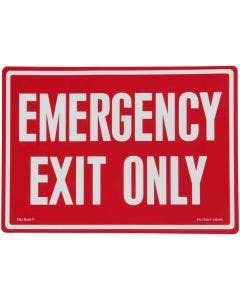 """Glo Brite® """"EMERGENCY EXIT ONLY"""" sign, 14""""x10"""" Photoluminescent letters on red (EG-7520-F-108-RN)"""