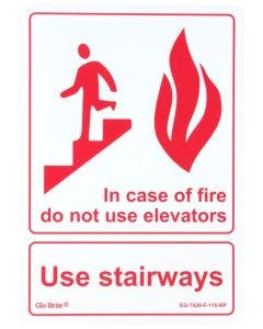 """Glo Brite®  Use Stairways (In case of fire) sign, 7""""x10"""" Red on Photoluminescent (EG-7520-F-115-RP)"""