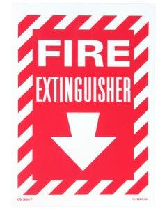 "Glo Brite® ""Fire Exinguisher"" sign, 10""x 14"" Photoluminescent letters on red (FS-7520-F-205)"