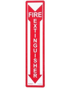 "Glo Brite® ""Fire Extinguisher"" in down arrow photoluminescent sign, 4"" X 18"" (FS-7520-R-214)"